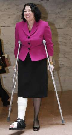 Supreme Court nominee Sonia Sotomayor, on crutches after a fall