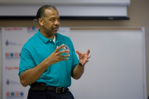 Former astronaut Bernard Harris speaks to the campers about his experiences in space